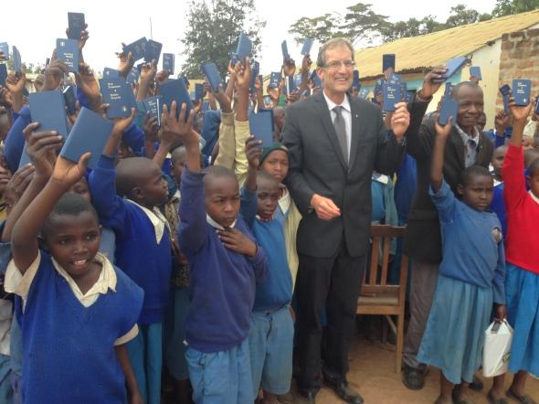 School children showing their new Bibles